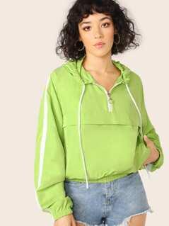 Half Zip Side Stripe Hooded Pullover Windbreaker