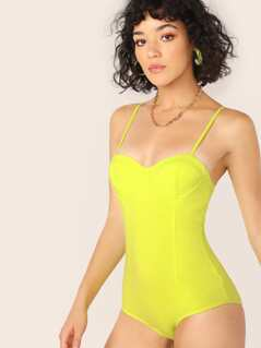 Underwire Cups Neon Sleeveless Jersey Bodysuit