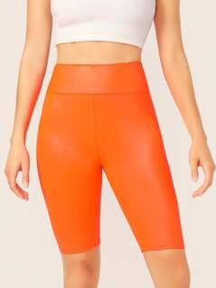 Neon Elastic Waist Stretch Biker Shorts