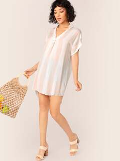 Striped Collar Short Sleeve Tunic Dress