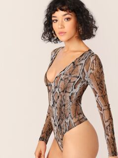 V-Neck Sheer Snakeskin Mesh Long Sleeve Bodysuit