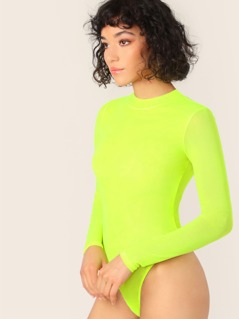 High Neck Sheer Mesh Long Sleeve Bodysuit