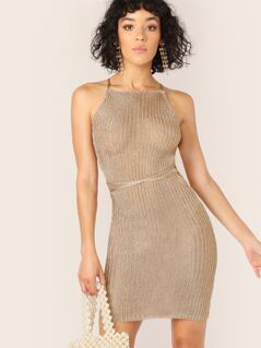 Halter Neck Metallic Lace Up Cover Up Dress