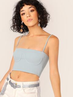Rib Knit Under Bust Outline Crop Tank Top