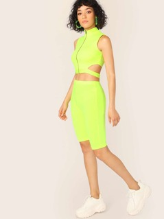Zip Front Side Cut Out Neon Top And Biker Shorts