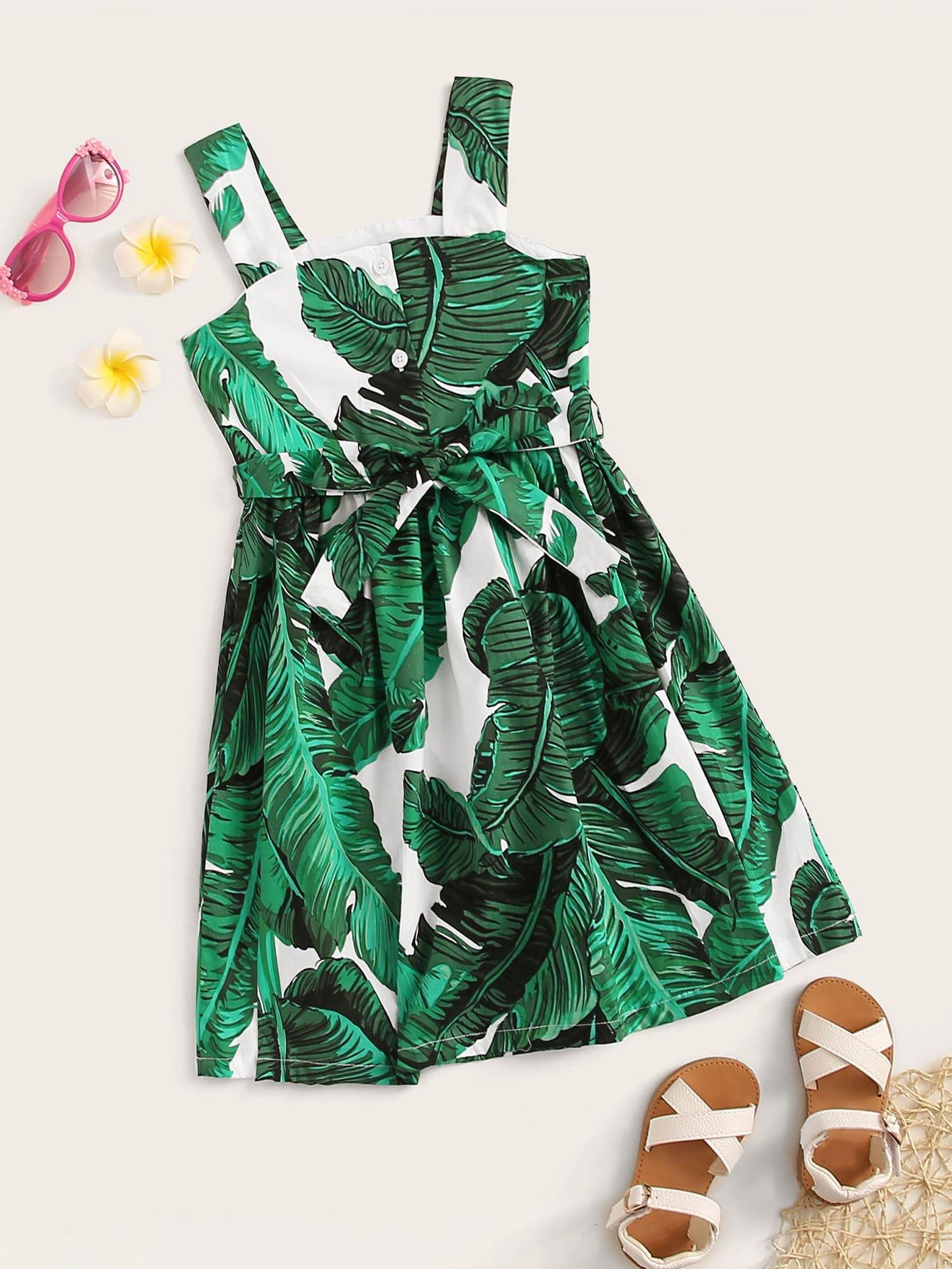 Фото - Платье с поясом и тропическим принтом для девочек от SheIn цвет зелёные