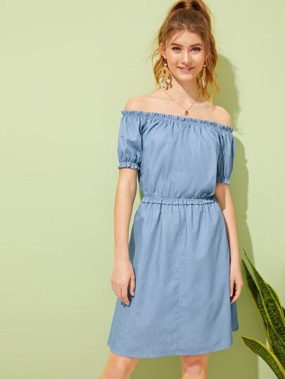 SheIn / Off The Shoulder Frill Trim Denim Dress