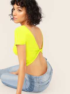 Neon Yellow Twist Open Back Crop Top