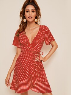 Ruffle Trim Surplice Wrap Polka Dot Tea Dress