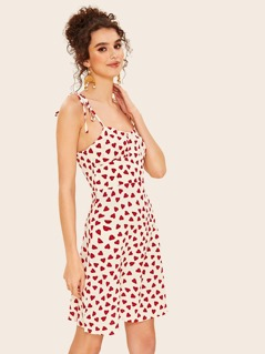 Self Tie Shoulder Heart Print Sundress
