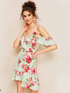 Cold Shoulder Ruffle Trim Floral & Striped Dress