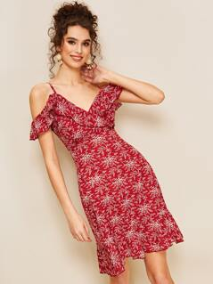 Ruffle Cold Shoulder Wrap Front Botanical Dress