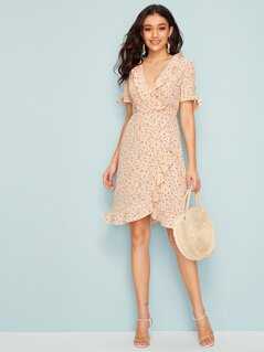 Knot Sleeve Ruffle Trim Wrap Polka Dot Dress