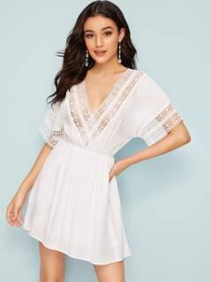 Lace Insert Cutout Back Wrap Tea Dress