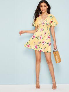 Flutter Sleeve Shirred High Waist Floral Dress