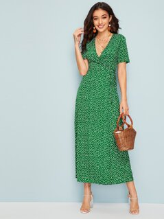 Surplice Wrap Ditsy Floral Dress