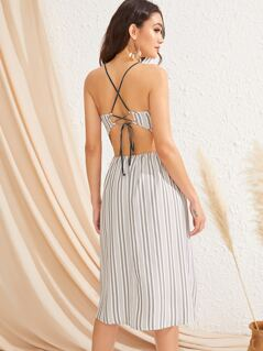 Lace-up Back Sweetheart Neck Striped Halter Dress