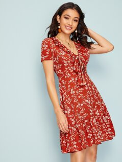 Ditsy Floral Tie Neck Frill Trim Dress