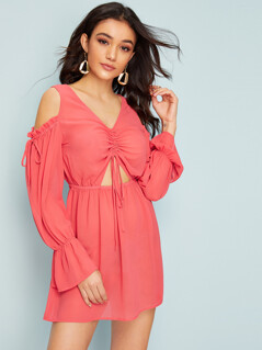 Cold Shoulder Drawstring Front Peekaboo Dress