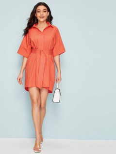 Notch Cuff 0-ring Belted Collared Dress
