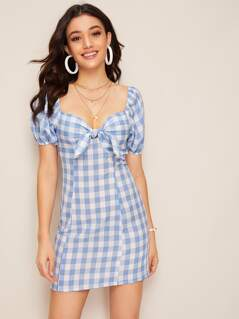 Puff Sleeve Knotted Sweetheart Gingham Dress