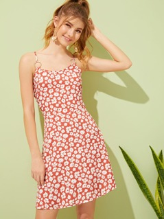 Ring Detail Ditsy Floral Sundress