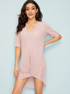 High Low Twist Hem Knit Dress