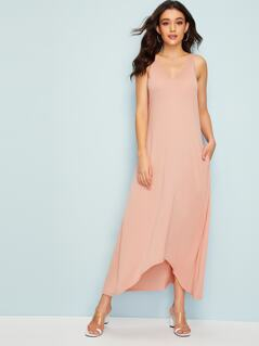 Pocket Side Dip Hem Dress