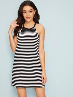 Halterneck Striped Dress