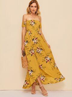 Off Shoulder Shirred Bodice Floral Wrap Dress