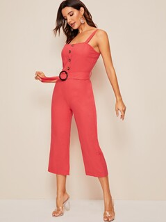 Button Front Pinafore Jumpsuit With O-ring Belt