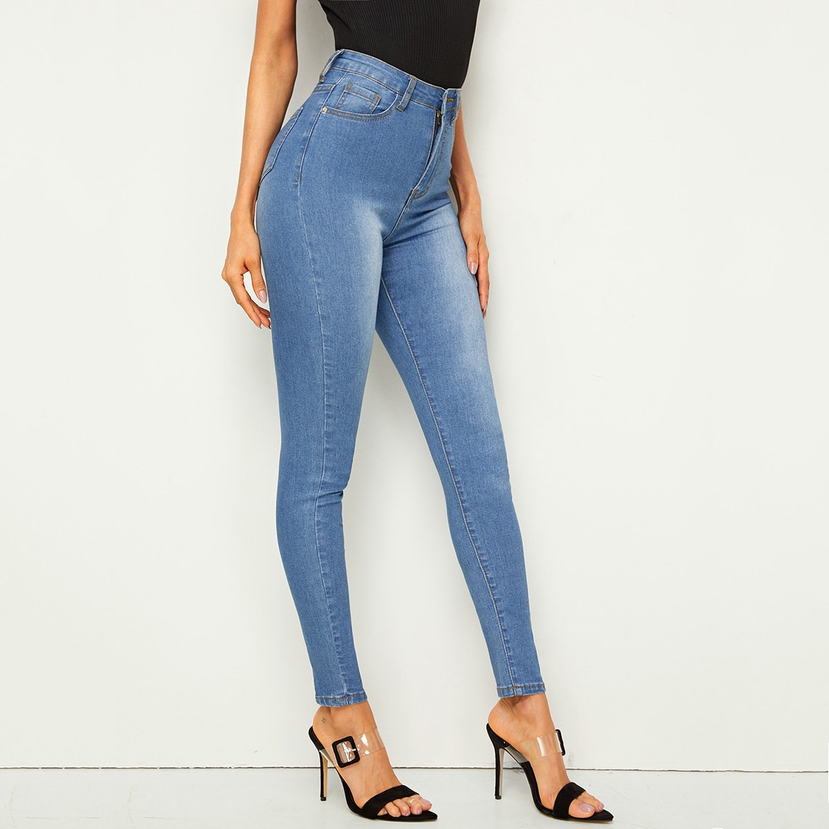 Blauw Casual jeans Knoop