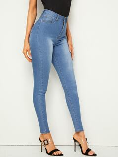 Bleach Wash High Waist Skinny Jeans