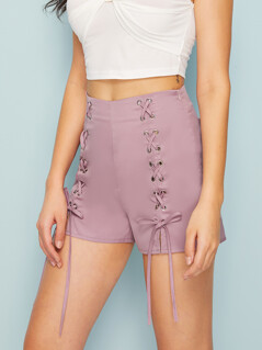Lace Up Front Solid Skinny Shorts
