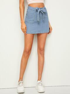 Pocket Patch Belted Denim Skirt
