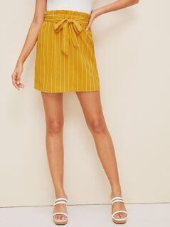 Paperbag Waist Striped Straight Skirt