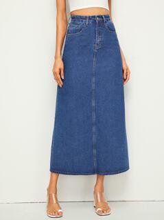 5-pocket Longline Straight Denim Skirt