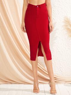 Slit Hem Slim Fitted Solid Denim Skirt