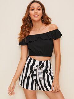 Ruffle Foldover Bardot Top and Tie Front Shorts Set