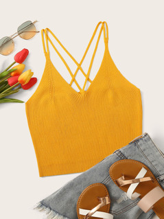 Strappy Back Rib-knit Cami Top