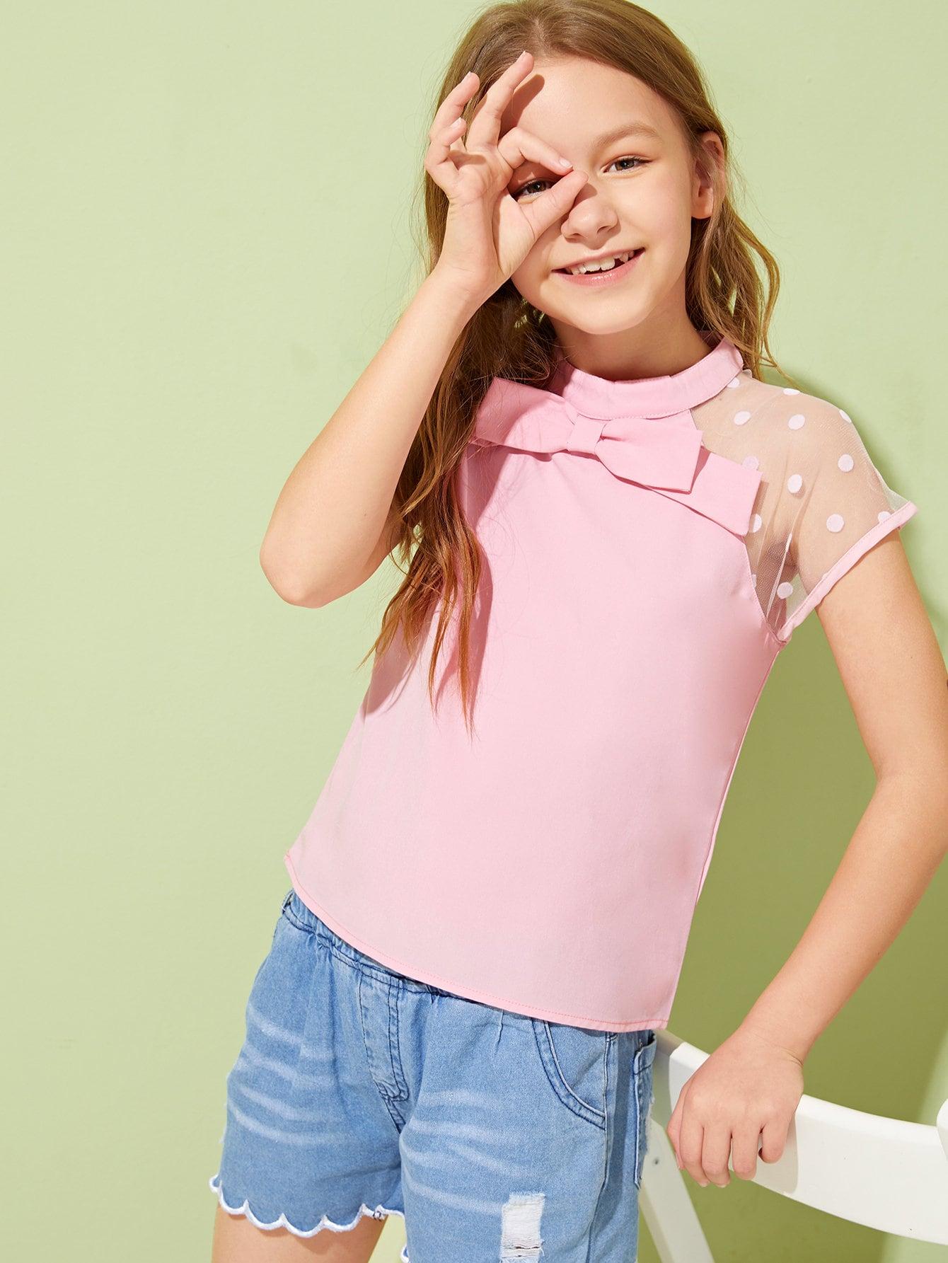Фото - Топ со сетчатым плечом и узлом для девочек от SheIn розового цвета