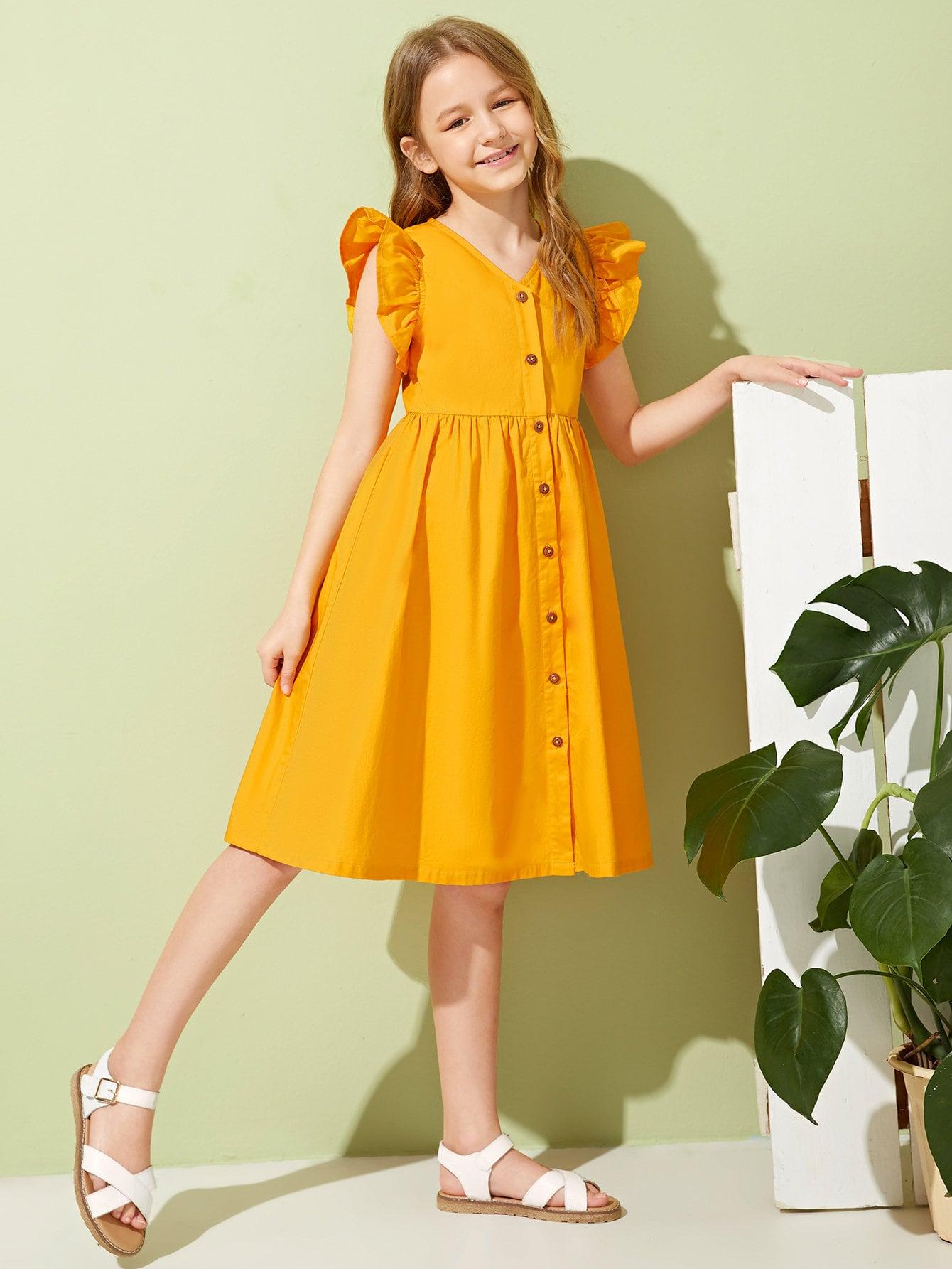 Фото - Платье с пуговицами и оборками для девочек от SheIn цвет жёлтые