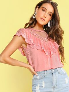 Mesh Insert Swiss Dot Ruffle Trim Top