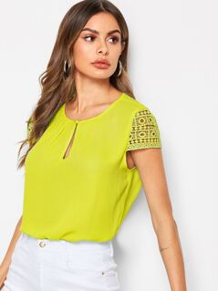Pleated Keyhole Front Lace Sleeve Top