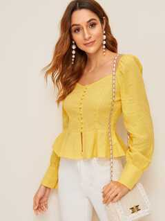 Covered Button Textured Knit Peplum Shirt