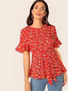 Tie Front Floral Print Trumpet Sleeve Top