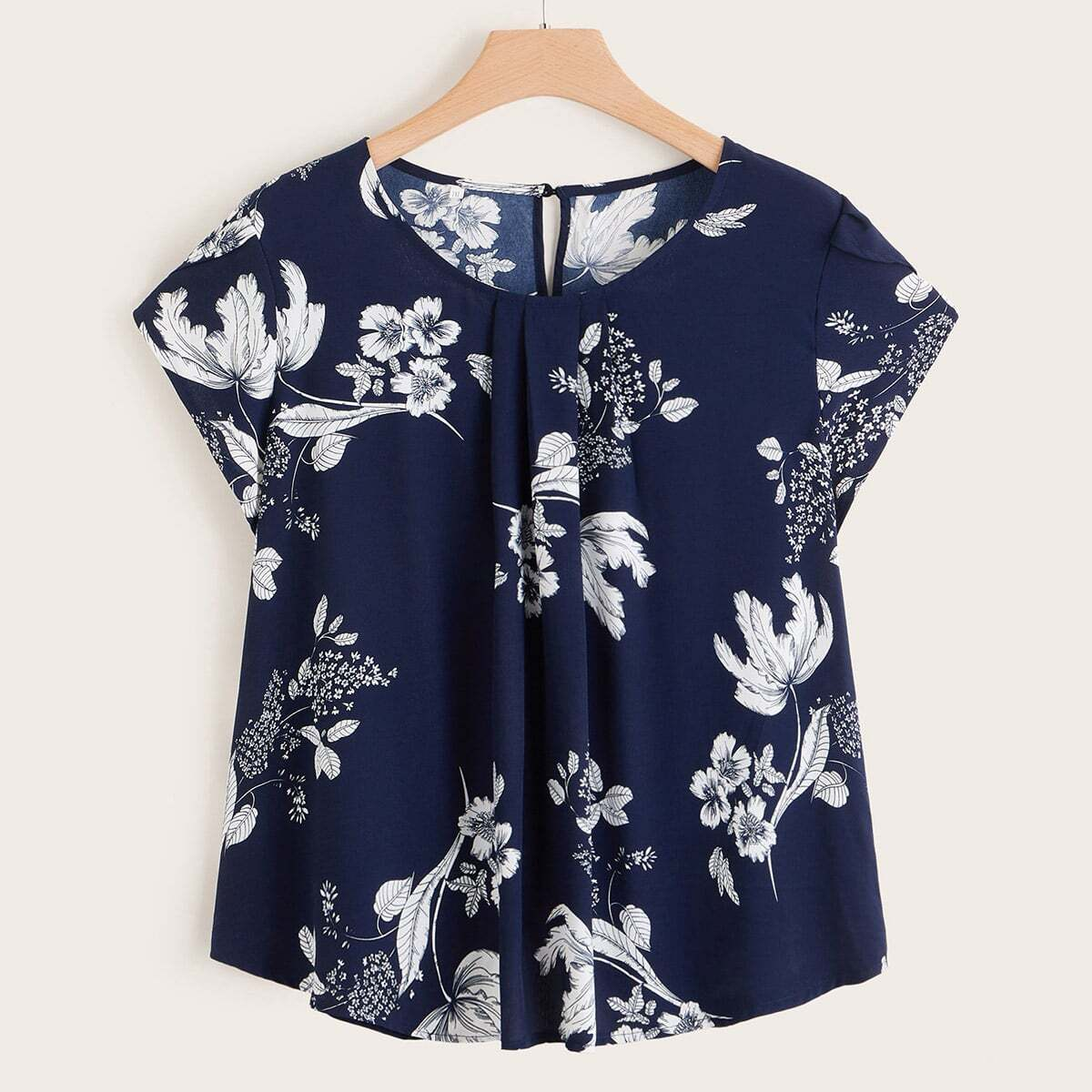 Шифоновая блузка размера плюс с цветочным принтом