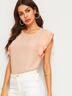Keyhole Back Pleated Armhole Top