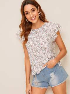 Layered Ruffle Sleeve Scallop Hem Ditsy Floral Top