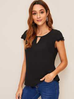 Keyhole Neck Scallop Edge Top